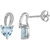 Sofia B. Sterling Silver 1 1/3 CTW Aquamarine and Diamond Accent Ear Pin Earrings
