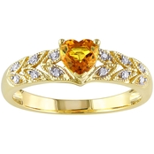 10K Yellow Gold Yellow Sapphire And Diamond Accent Fashion Ring