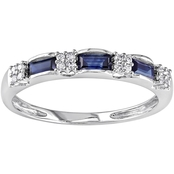10K White Gold Sapphire And Diamond Accent Eternity Ring