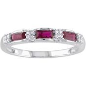 Sofia B. 10K White Gold Ruby And Diamond Accent Eternity Ring