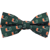 Eagles Wings NCAA Miami Hurricanes Woven Repeat Logo Bow Tie