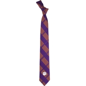 Eagles Wings NCAA Clemson Tigers Woven Skinny Plaid Tie