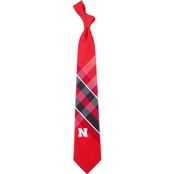 Eagles Wings NCAA Nebraska Cornhuskers Woven Grid Tie