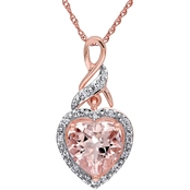 Sofia B. 10K Pink Gold Diamond Accent and Morganite Heart Pendant