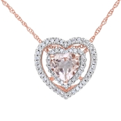 Sofia B. 10K Pink Gold 1/5 ct. Diamond and Morganite Pendant