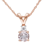 Sofia B. 10K Pink Gold Diamond Accent and Morganite Pendant with 17 in. Chain