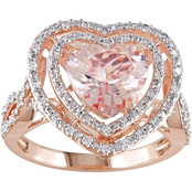 Sofia B. 10K Pink Gold 1/3 CTW Diamond and Morganite Heart Ring