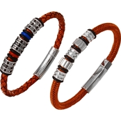 Stainless Steel Leather and Nylon Bracelet 2 pc. Set