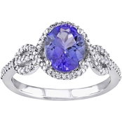 10K White Gold 1/4 CTW Diamond And Tanzanite Ring