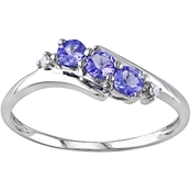 Sofia B. 10K White Gold Tanzanite Diamond Accent 3 Stone Ring