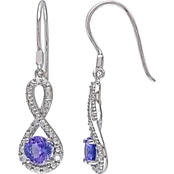 Sofia B. Sterling Silver 1/10 CTW Diamond And Tanzanite Charm Earrings