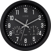 Equity by La Crosse 12 in. Analog Wall Clock with Temperature and Humidity
