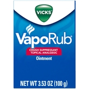 Vicks VapoRub Cough Suppressant Topical Analgesic Ointment 1.76 Oz..