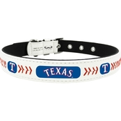 Gamewear MLB Texas Rangers Classic Leather Logo Dog Collar
