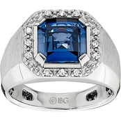 Men's Sterling Silver Created Sapphire and 1/8 CTW Diamond Ring