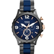 Fossil Men's Nate Black and Blue Chronograph 50mm JR1494