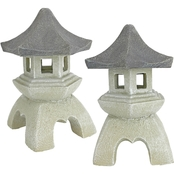 Design Toscano Pagoda Lantern Sculptures, Set of 2