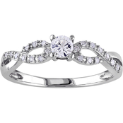 Sofia B. 10K White Gold 1/10 CTW Diamond and Created White Sapphire Fashion Ring