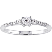 Sofia B. Sterling Silver Created White Sapphire and Diamond Accent Promise Ring