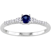 Sofia B. Sterling Silver Created Blue Sapphire and Diamond Accent Fashion Ring