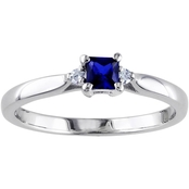 Sofia B. Sterling Silver Created Blue Sapphire and Diamond Accent Promise Ring