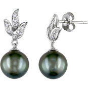 10K White Gold 9-9.5mm Black Tahitian Pearl Earrings with Diamond Accents