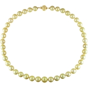14K Yellow Gold 18 In. 9-11mm Graduated Round Golden South Sea Pearl Necklace