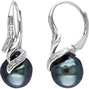 Sterling Silver 9-9.5mm Black Tahitian Pearl Dangle Earrings