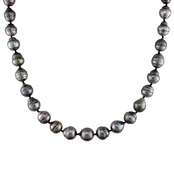14K White Gold 17 In. 8-11mm Graduated Natural Black Tahitian Pearl Necklace