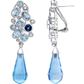 Sofia B. 14K White Gold Three Tone Blue Topaz Pin Earrings