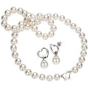 8-9mm White Freshwater Pearl Necklace and Earring Set with Sterling Heart Clasps