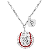 Sterling Silver MLB Pittsburgh Pirates Baseball Necklace with Austrian Crystals