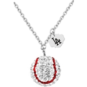 Sterling Silver MLB Los Angeles Dodgers Baseball Necklace with Austrian Crystals