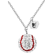 Sterling Silver MLB Baltimore Orioles Baseball Necklace with Austrian Crystals