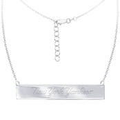 Sterling Silver MLB New York Yankees Bar Necklace With 16 In. Chain