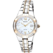 Seiko Women's Solar Two Toned Mother of Pearl Dial 27mm SUT068