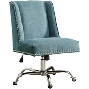 Linon Draper Aqua Office Chair with Metal Base