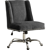Linon Draper Charcoal Office Chair with Metal Base