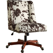 Linon Draper Print Office Chair with Wood Base