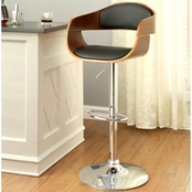 Furniture Of America Boxil Chrome With Wood Bar Stool
