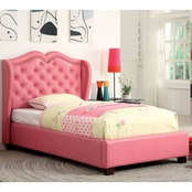 Furniture of America Monroe Pink Tufted Twin Platform Bed