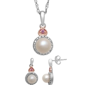 Sterling Silver Pearl and Created White Sapphire Earrings