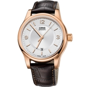 Oris Men's Classic Date Watch with Brown Leather Strap 73375944831LS