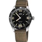 Oris Men's Heritage Divers 65 Watch with Tan Textile Strap 73377074064TS