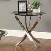 Coaster Occasional Tempered Glass Chrome End Table