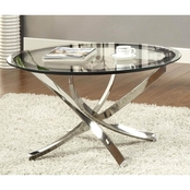 Coaster Occasional Tempered Glass Chrome Coffee Table