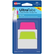 Avery Big Tab Ultra Tabs Neon Repositionable Two-Side Writable Tabs, 20 pk.