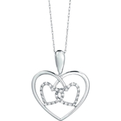 10K White Gold 1/10 CTW Diamond Double Heart Pendant With 18 In. Chain