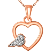 Sterling Silver 10K Gold Plating Diamond Accent Heart Pendant