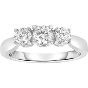 18KW Gold 1 1/2 ct. TDW 3 Stone Diamond Ring with Diamond Accents